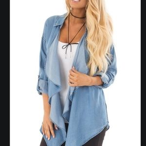 Denim Draped Cardigan